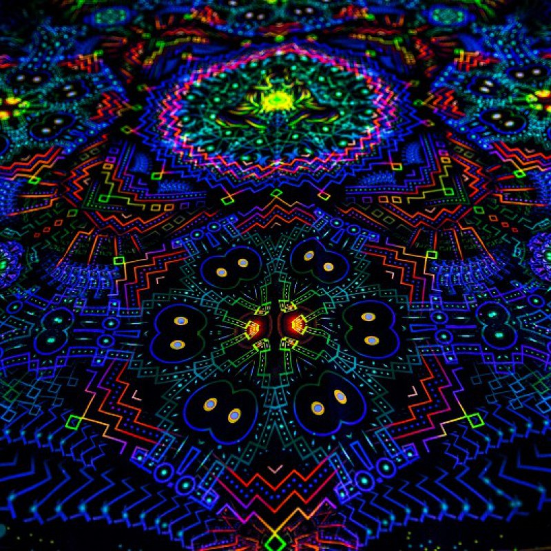 Black light painting UV poster Fractal Depths.