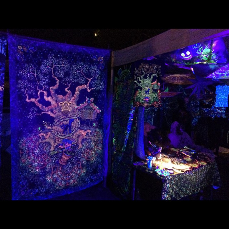 "Forest wall fluorescent tapestry  ""Yggdrasil"""