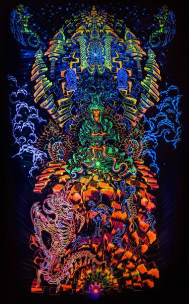 """Incredible, exciting fractal art, psychedelic backdrop """"Heaven and Hell"""""""
