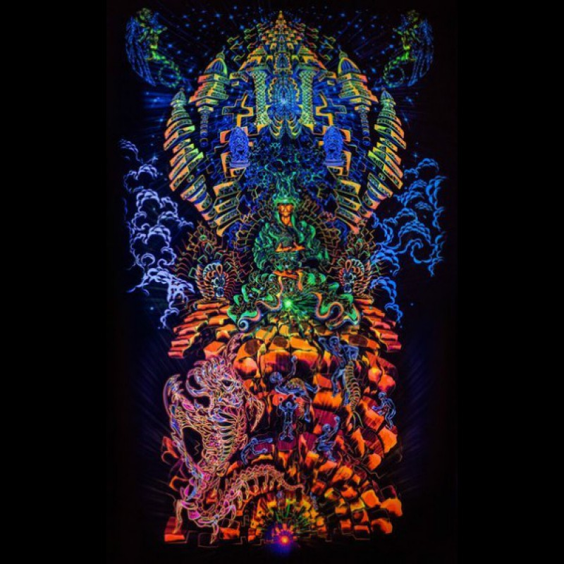 """Incredible, exciting fractal art, psychedelic backdrop """"Heaven and Hell&..."""