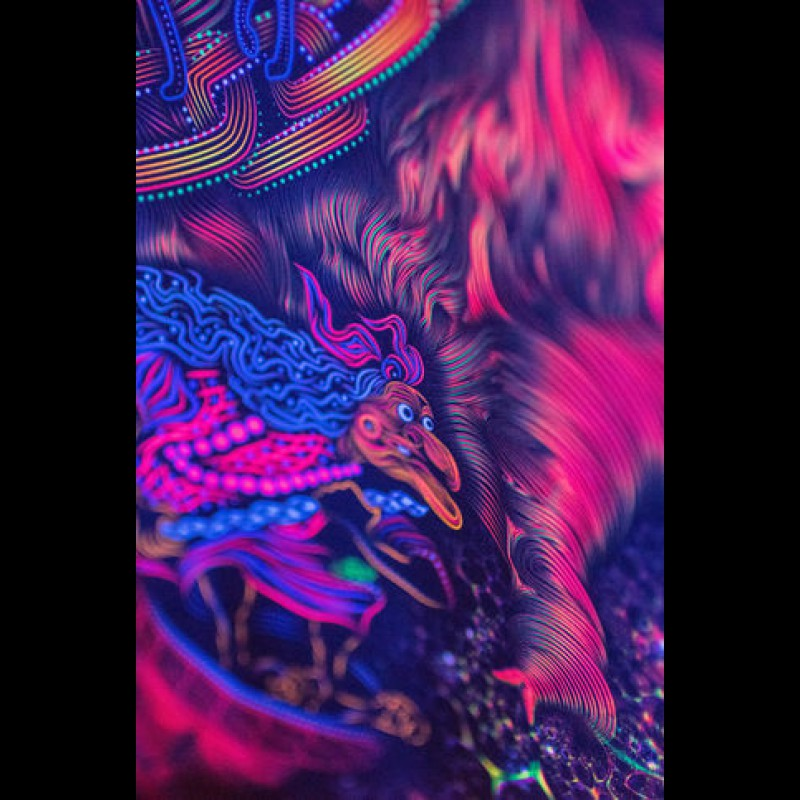 """Forest wall fluorescent tapestry  """"Yggdrasil"""""""