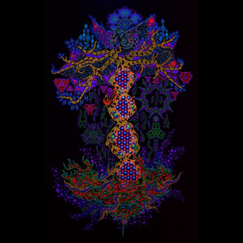 "UV active psychedelic sacred backdrop ""Yggdrasil the Tree of Life"""
